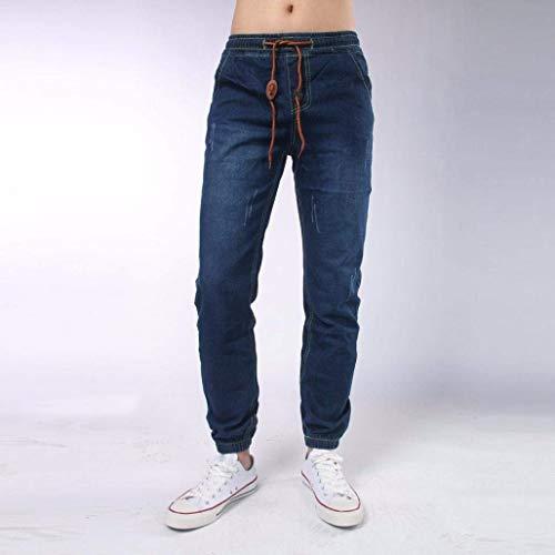 Stretti E Party Moderna Denim Pantaloni Polsini Tiefblau Haidean Da Casual Uomo Jeans Comfy Elasticizzati Con Vintage Cordino wn0vSqxT