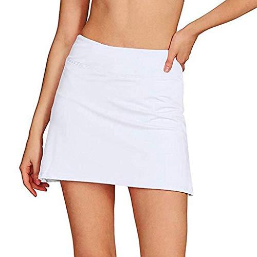 Power Pleated Tennis Skirt - HENWERD Casual Pleated Tennis Golf Skirt for Women Summer Slim Spors Running Skirt (White,XL)