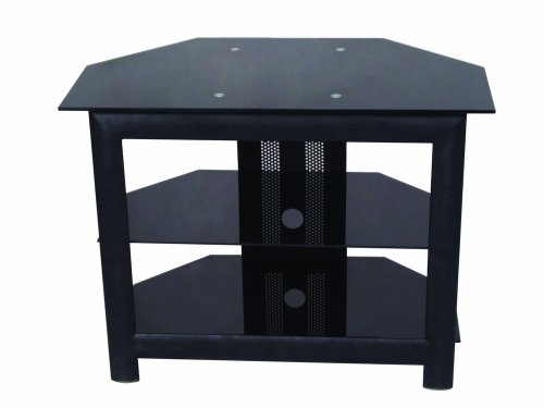 Home Source Industries TV418 Modern TV Stand with Shelving for Components, Black