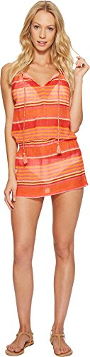 Polo Ralph Lauren Womens Playa Stripe High Neck Dress Cover-Up Coral MD One ()