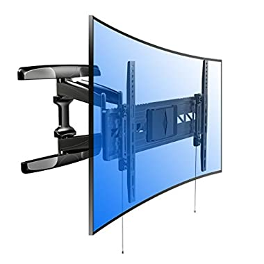 Loctek Curved Panel UHD HD TV Wall Mount Bracket Articulating Arm Swivel & Tilt for most of 32-70 Inches LED, LCD, Plasma, OLED TVs (for both flat panel and curved panel TVs)
