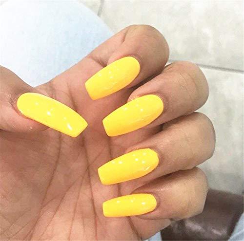 BloomingBoom False Nail Coffin 24 Pcs 12 Size Fake Nails Full Cover Long Fake Nail Press on Salon Pre Design Ballerina Pure Color Elegant Light Yellow Warm ()