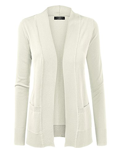 Made By Johnny WSK926 Women Open Front Knit Cardigan L Ivory