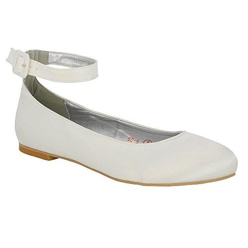 Donna ESSEX Ballerina Satinato Scarpa Caviglia Tacco GLAM Sintetico Sposa Cinturino Piatto Bianco wqB7ZFESBn