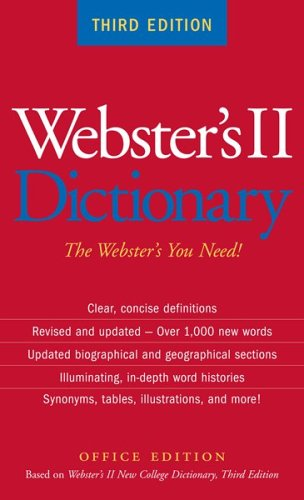 Download Webster's II Dictionary, Third Edition, Office Edition pdf epub
