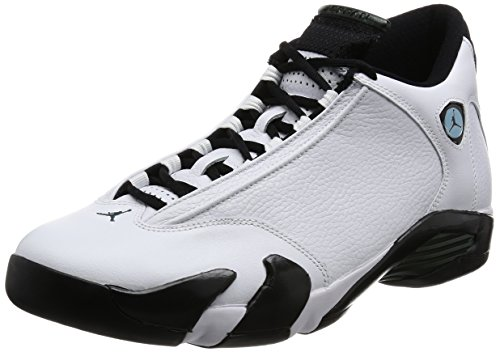 Air Jordan 14 Retro Mens Shoes White/Black/Green/Legend Blue 487471-106 (10 D(M) US) by Nike