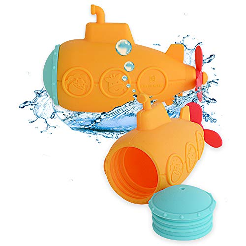 MARCUS&MARCUS Squirting Baby Bath Toy | Safe Silicone & Mold Free Toy for Bath Time | Infant & Toddler Toys | Yellow Submarine