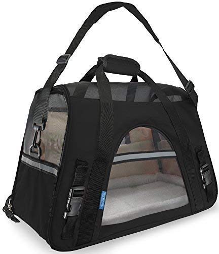 Airline Approved Pet Carrier - Soft-Sided Carriers for Small Medium Cats and Dogs Air-Plane Travel On-Board Under Seat Carrying Bag with Fleece Bolster Bed For Kitten Cat Puppy Dog Taxi ()