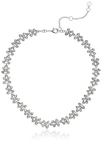 Anne Klein Silver Tone and Crystal All Around Collar Necklace