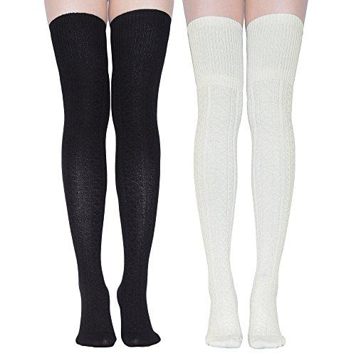 Skirt Top Socks (TooPhoto Women Stockings Knee Thigh High Socks Tube Athletic Stripes Cosplay B3 [lengthen style]Black & Milk White)