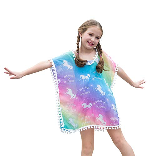 Kid Girls Chiffon Unicorn Cover-up Rainbow Beach