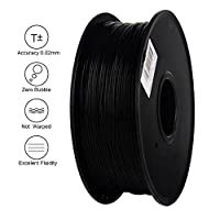 Anet 3D Printing Filament 340m Lenght 1.75mm PLA Biodegradable filament 3d printingMaterial Dimensional Accuracy 0.02mm 2.2lbs Spool for 3D Printers&3D Pen-Black by Anet