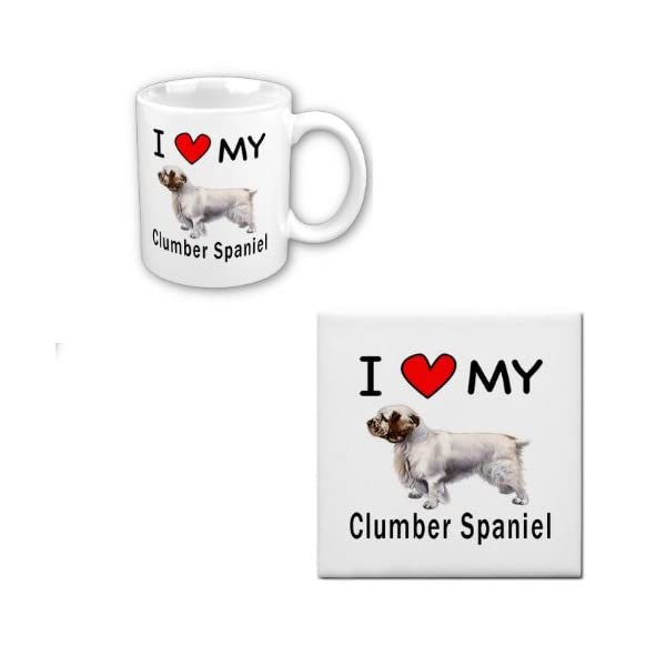 I Love My Clumber Spaniel Coffee Cup with Matching Tile Set 1