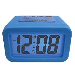 Advance Time Technology Silicone LCD Alarm Clock with Matching Backlight, Blue