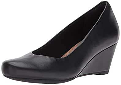 Clarks Women's Flores Tulip Wedge Pump,Black Leather,5 M US