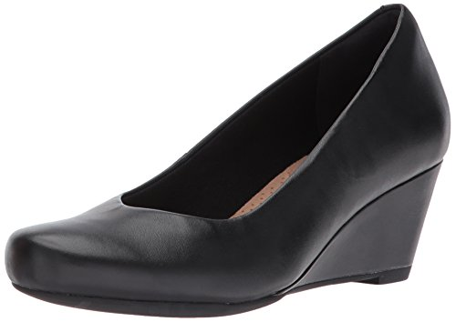 Clarks Women's Flores Tulip Wedge Pump,Black Leather,7 M US