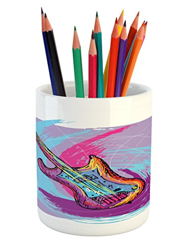 Ambesonne Grunge Pencil Pen Holder, Hand Drawn Electric Guit