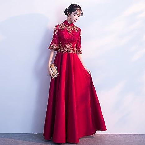 Vestiti Cerimonia Cinesi.Jkjhah Abito Da Sera Rosso Cinese Della Sposa Del Vestito Amazon