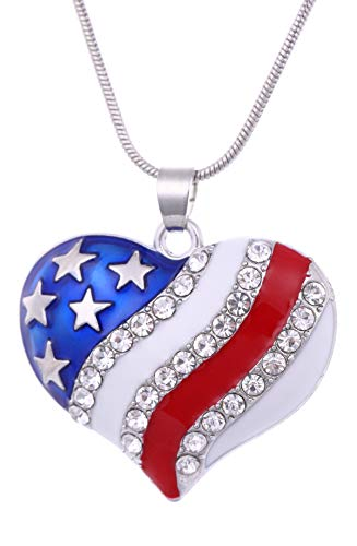 VASSAGO Enamel Crystal Heart and Star Shape United States of America Flag Patriotic Pendant Necklace (Heart) ()