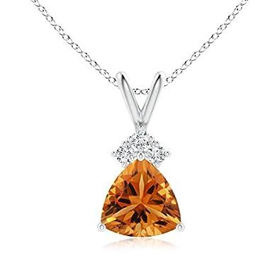 Angara Trillion Citrine Solitaire Pendant with Trio Diamonds in Yellow Gold 8wGky0a