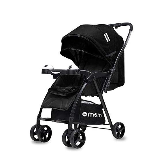 DOTMOM Reversible Baby Stroller, One-Hand Folding Pram for Newborn Baby Boy and Girl - Black