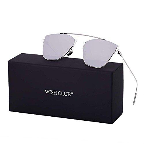 WISH CLUB Women Classic Cat Eye Sunglasses Fashion Round Reflective Mirrored Stylish Light UV 400 Glasses - Pair Of Sunglasses Nice