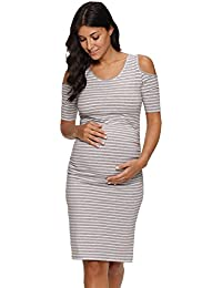 Women's Cold Shoulder Bodycon Maternity Dress Half Sleeve...