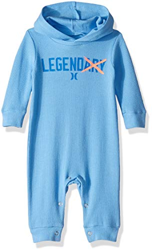 Hurley Baby Boys Long Sleeve Hooded Coverall, Light Blue, 6M ()