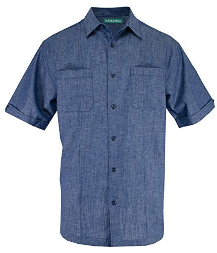 (Cubavera Short Sleeve Pin-Tuck Two Pocket Woven Sport Shirt | Estate Blues Large)