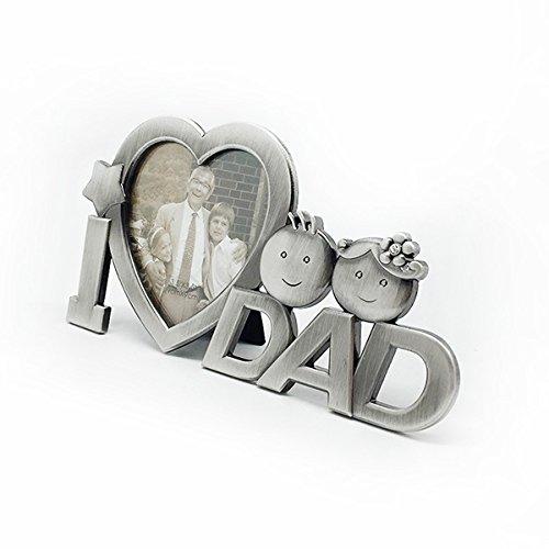 OULII J'ai l'amour papa métal photo cadre Photo fête des pères cadeaux maison décoration (argent)