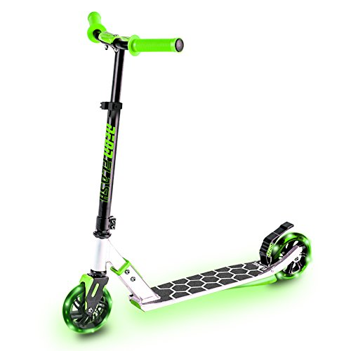 Neon Flash Kids Scooter - Light Up Deck & Wheels, Green, One ()