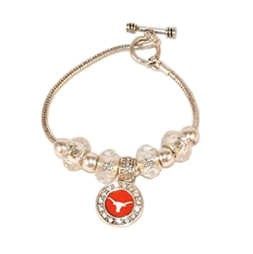FTH Silver Tone Bracelet Featuring a Texas Logo Charm Accented by Sliding Charms