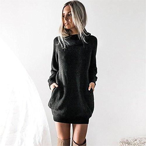 Jumper Suéter de punto Tops de larga punto Longra Las de manga de suéter mujeres Vestido suelto Negro jersey Caliente zaqRSxPwAA