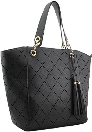 New Shopper Tote Ladies Shoulder Bag With Leatherette Cutting Quality Seller Uk - Uk Seller (blue) Beige - Black
