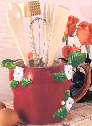 Red APPLE Fruit Flower UTENSIL TOOL SET Kitchen Decor pitcher jar holder 7 pc