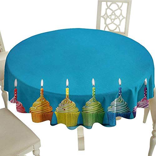- longbuyer Round Tablecloth Vinyl Fitted Birthday,Cupcakes in Rainbow Colors with Candles Fun Homemade Party Food Sweet Delicious,Multicolor D50,for 40 inch Table