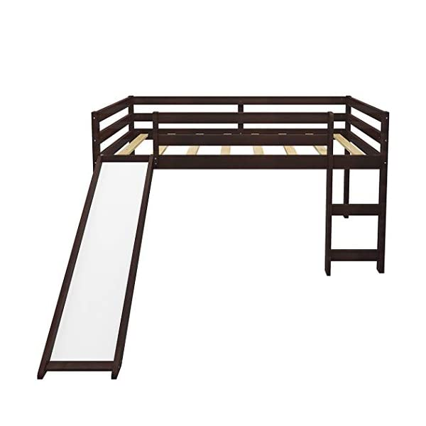 Twin Loft Bed with Slide for Kids/Toddlers, Wood Low Sturdy Loft Bed, No Box Spring Needed 3