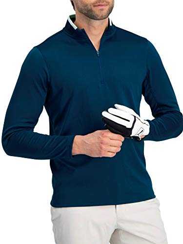 Fleece Zip Pullover Half - Golf Half Zip Pullover Men - Fleece Sweater Jacket - Mens Dry Fit Golf Shirts Navy Blue