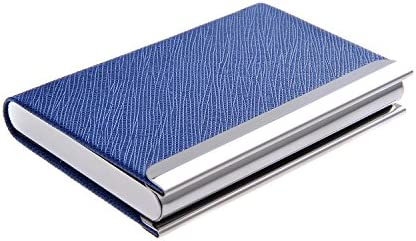 Quantum Abacus Visitenkartenetui /-halter aus Edelstahl und PU-Leder, mit magnetischem Verschluss, zeitlos elegant, Mod. 701-04 (DE)