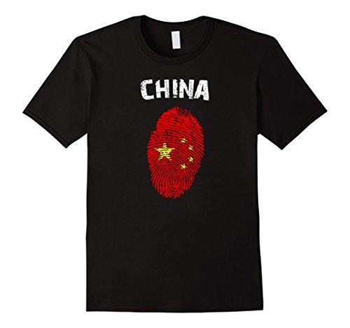 Mens China Fingerprint Flag Country Pride Heritage Shirt Large Black ()