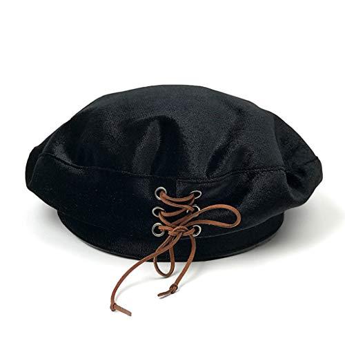 (Velvet Beret French Style Solid Color Winter Velvet Cap for Women)