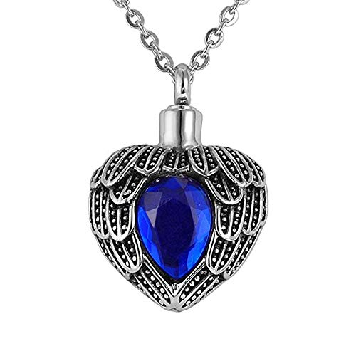 startoneco Ash Necklace Urn for Women Heart Memorial Cremation Pendant Jewelry with Funnel Filler Kit (September) ()