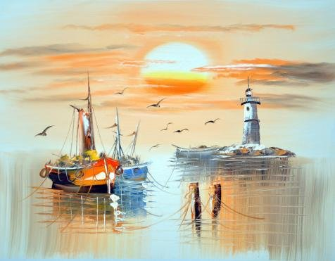 Gull Trio Sea ('Wall Boats,Sea Gulls,Lighthouse And Sun' Oil Painting, 10x13 Inch / 25x33 Cm ,printed On High Quality Polyster Canvas ,this Beautiful Art Decorative Prints On Canvas Is Perfectly Suitalbe For Gym Gallery Art And Home Gallery Art And Gifts)
