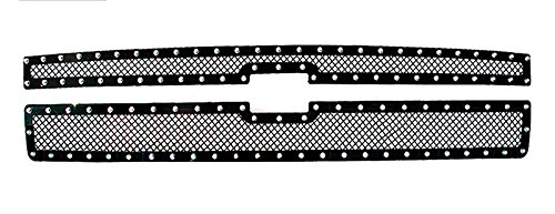MaxMate 11-2013 Chevy Silverado 2500/3500 Upper 2 PC Stainless Steel Black Powder Coated Mesh Grille Grill Insert