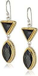 """Anna Beck Designs """"Gili Hematite"""" Gold Plated Double Drop Earrings"""