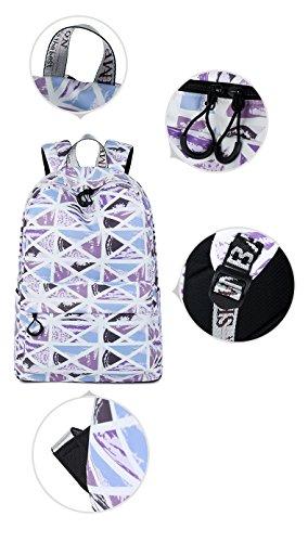 grande Winnerbag motif d'impression Sac noir à étanche 15 à capacité géométrique dos filles Femmes pouces occasionnels portable de Purple collège dos de Sac zfzxrq