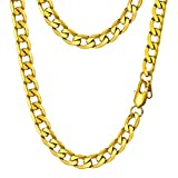 PROSTEEL Miami Cuban Link Gold Necklace Curb Chain 18K Big Chunky Choker Necklace Women Hip Hop Chain for Men Hiphop Jewelry Gift