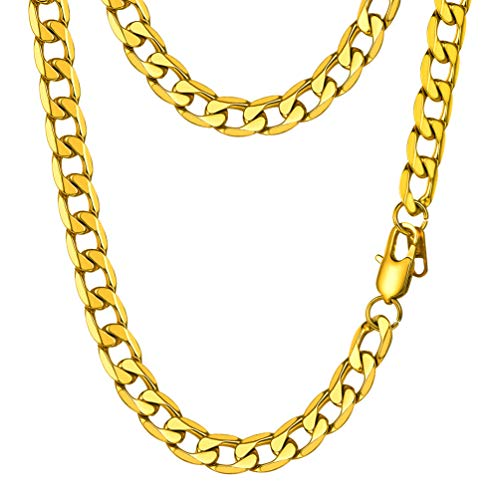- PROSTEEL Miami Cuban Link Gold Necklace Curb Chain 18K Big Chunky Women Statement Hip Hop Chain for Men Hiphop Jewelry Gift