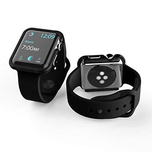 X-Doria 42mm Apple Watch Case, Defense Edge Premium Aluminum & TPU Bumper Frame for 42mm Apple Watch, Black/Black (Renewed)
