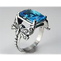 khamchanot Animal Dragonfly 925 Silver Ring Vintage 2.6ct Sapphire Woman Men Size 6-10 (9)